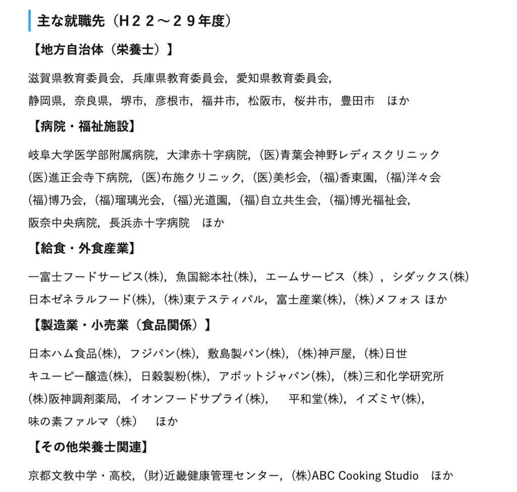 滋賀県立大学 学部生の主な就職先