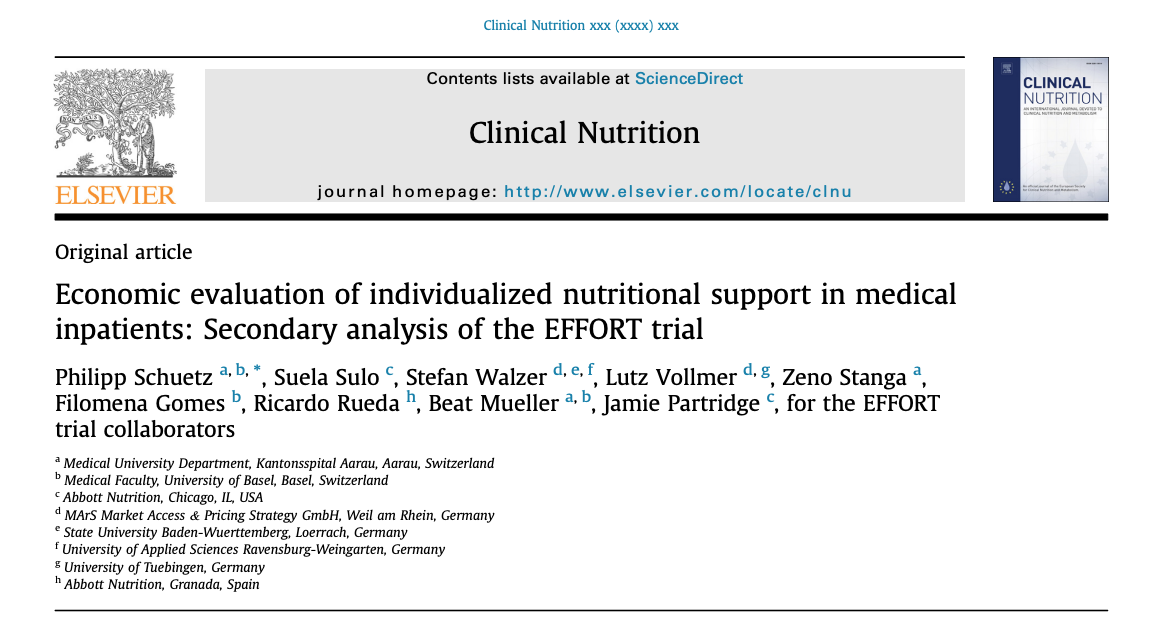 PDF [668 KB] Figures Save Share Reprints Request Economic evaluation of individualized nutritional support in medical inpatients: Secondary analysis of the EFFORT trial
